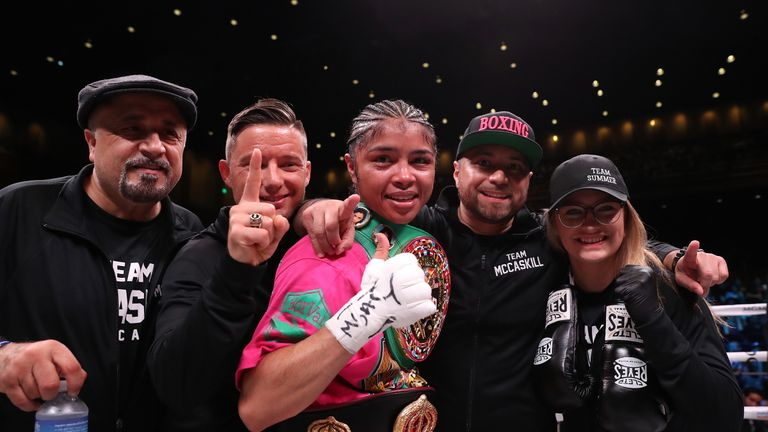 McCaskill celebrates unifying the WBA and WBC titles against Anahi Sanchez