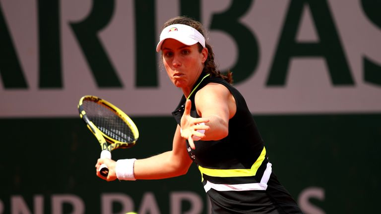 Johanna Konta in first round French Open action
