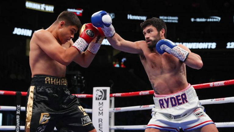 Ryder blasted out Bilal Akkawy to claim the WBA interim title in Las Vegas