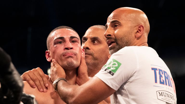 Jordan Gill was pulled out by trainer Dave Coldwell after eight rounds against Enrique Tinoco