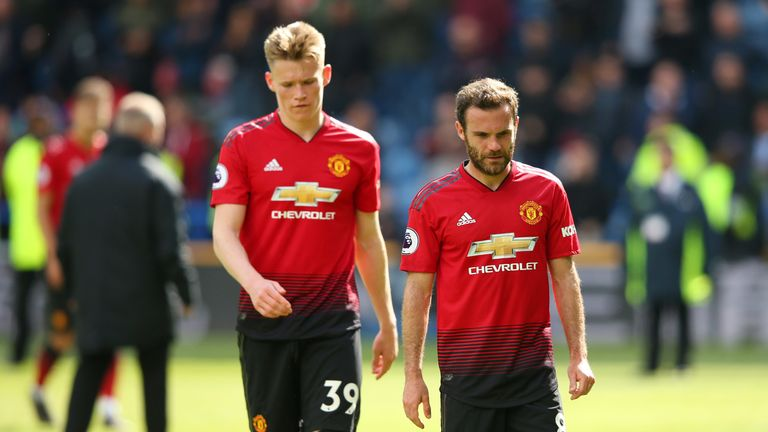 Juan Mata and Scott McTominay show their dejection