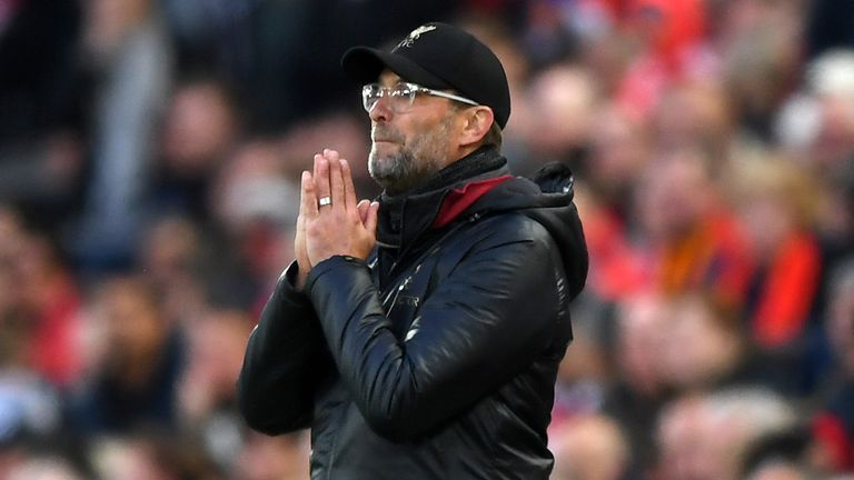 Jurgen Klopp, Manager of Liverpool reacts during the UEFA Champions League Semi Final second leg match between Liverpool and Barcelona at Anfield on May 07, 2019 in Liverpool, England.