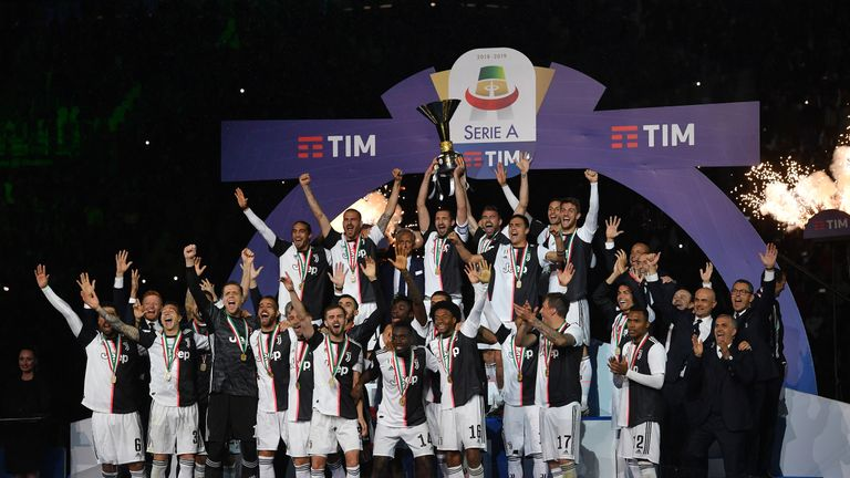 Juventus were crowned Serie A champions for an eighth consecutive time