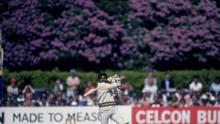 Kapil Dev pulls emphatically during his 175 not out against Zimbabwe in 1983