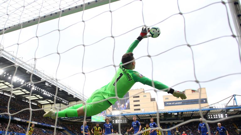Kepa Arrizabalaga makes a save during the Premier League match between Chelsea and Watford at Stamford Bridge