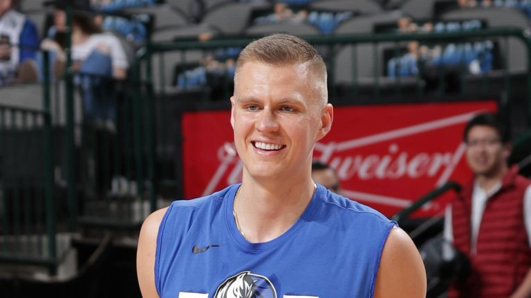 Kristaps Porzingis #6 of the Dallas Mavericks smiles prior to the game against the Memphis Grizzlies on April 5, 2019 at the American Airlines Center in Dallas, Texas.