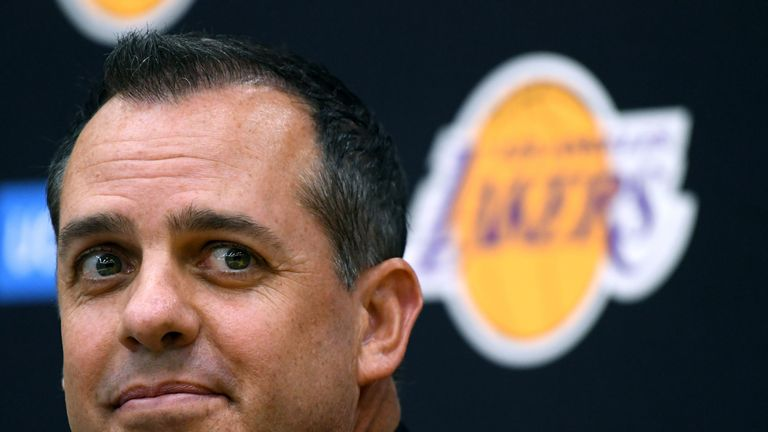 New Los Angeles Lakers head coach Frank Vogel speaks to media at a press conference at UCLA Health Training Center on May 20, 2019 in El Segundo, California.