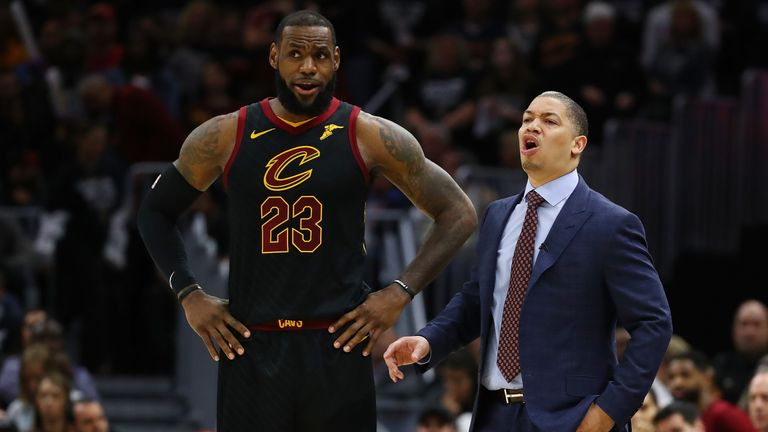 LeBron James #23 of the Cleveland Cavaliers and head coach Tyronn Lue talk while playing the Indiana Pacers in Game Seven of the Eastern Conference Quarterfinals during the 2018 NBA Playoffs at Quicken Loans Arena on April 29, 2018 in Cleveland,