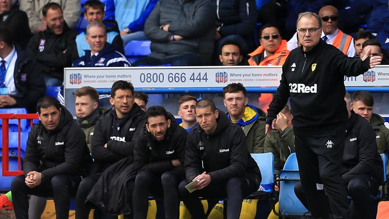 Leeds boss Marcelo Bielsa issues instructions from the sidelines