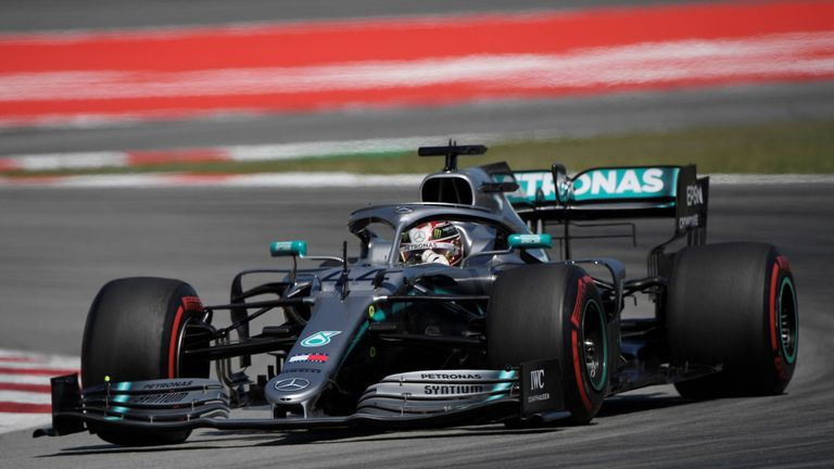Watch as Lewis Hamilton leads Valtteri Bottas into Turn One during the Spanish GP