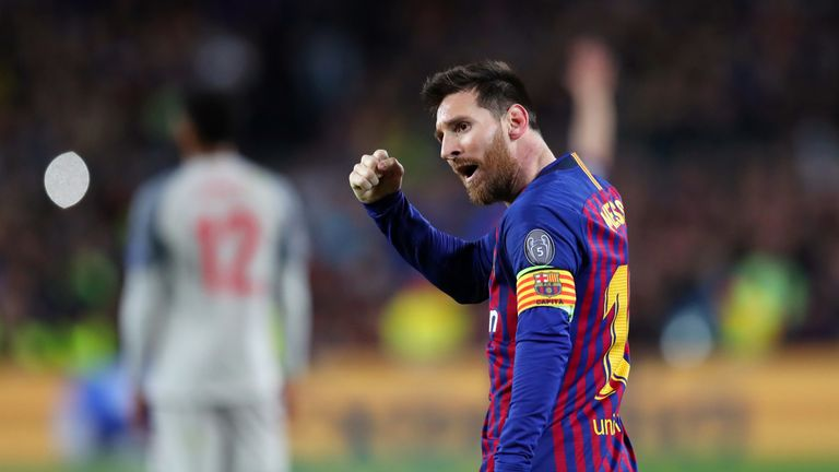 Lionel Messi celebrates during the Champions League semi-final, first leg between Barcelona and Liverpool at the Nou Camp on May 01, 2019