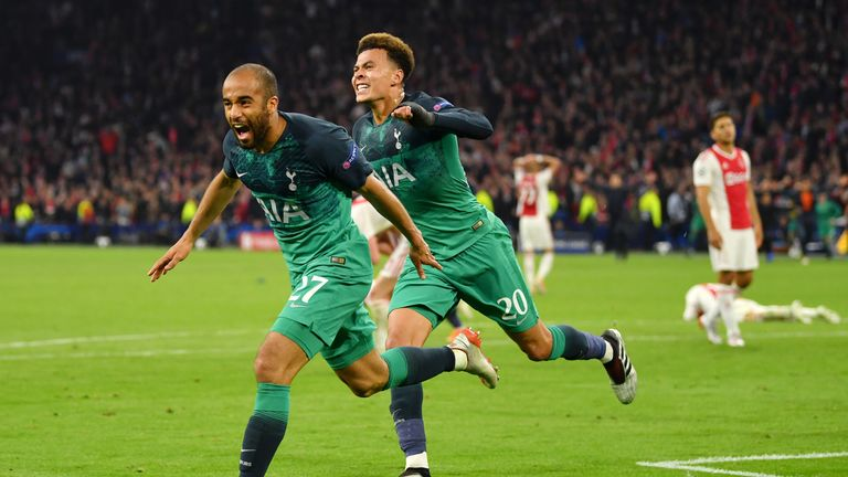 AMSTERDAM, NETHERLANDS - MAY 08: Lucas Moura of Tottenham Hotspur celebrates after scoring his team's third goal with Dele Alli of Tottenham Hotspur during the UEFA Champions League Semi Final second leg match between Ajax and Tottenham Hotspur at the Johan Cruyff Arena on May 08, 2019 in Amsterdam, Netherlands. (Photo by Dan Mullan/Getty Images )