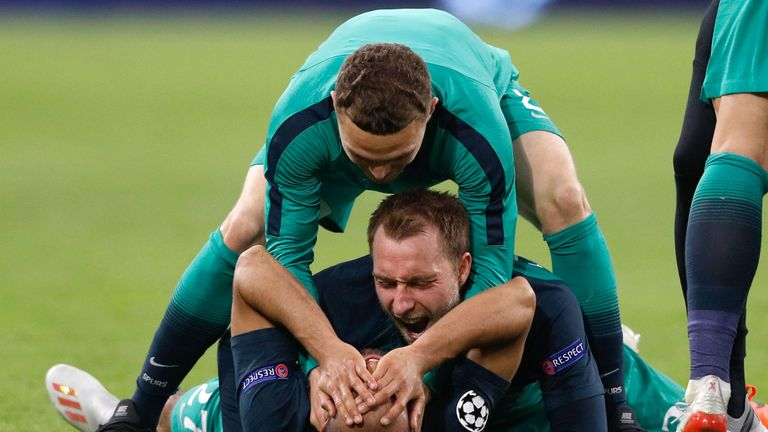 Tottenham players celebrate after Lucas Moura's goal against Ajax put them through to the Champions League final