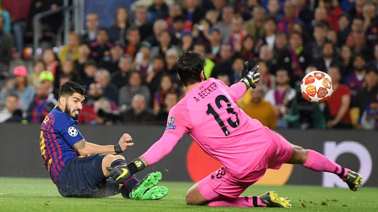Luis Suarez opens the scoring against former team Liverpool at the Nou Camp