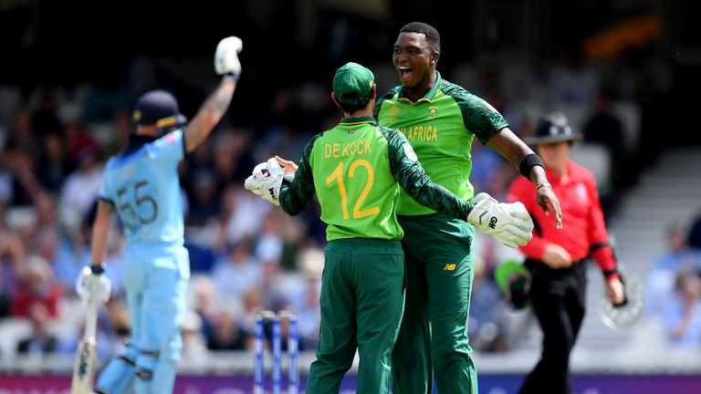 Lungi Ngidi celebrates the wicket of Jos Buttler at The Oval