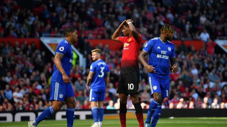 Marcus Rashford of Manchester United reacts after a missed chance vs Cardiff City