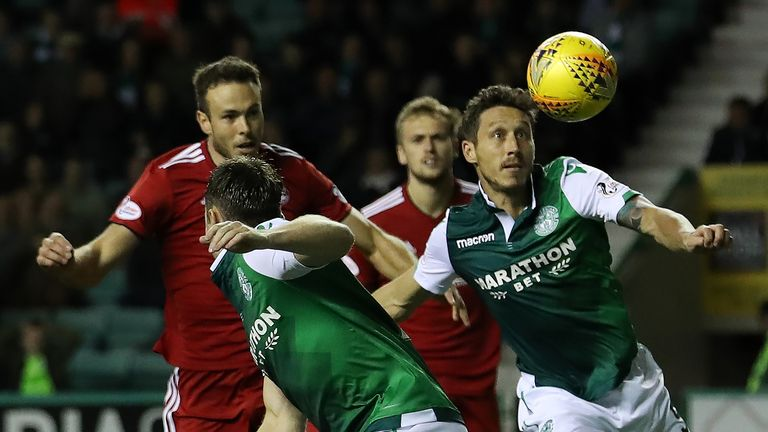 Milligan battles for the ball during Hibs' Scottish League Cup defeat against Aberdeen in September 2018