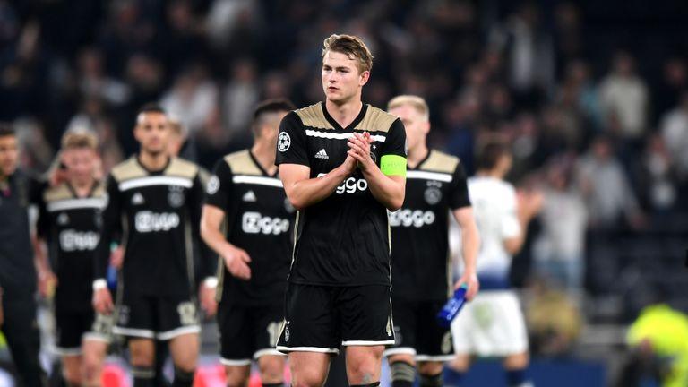 Ajax captain Matthijs de Ligt applauds fans after the 1-0 win over Tottenham Hotspur