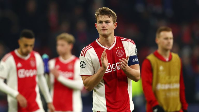 Matthijs De Ligt during the UEFA Champions League Round of 16 First Leg match between Ajax and Real Madrid at Johan Cruyff Arena on February 13, 2019 in Amsterdam, Netherlands.