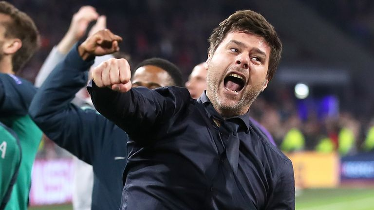 Mauricio Pochettino celebrates after Spurs defeat Ajax to reach the Champions League final