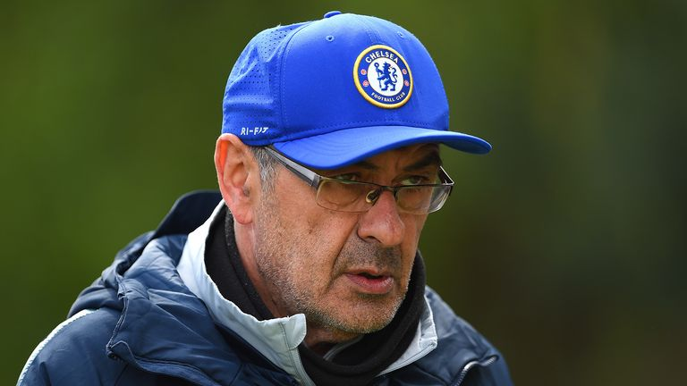 Maurizio Sarri, Manager of Chelsea walks out to the Chelsea Training Session on the eve of their UEFA Europa League semi final against Eintracht Frankfurt at Chelsea Training Ground on May 08, 2019 in Cobham, England.