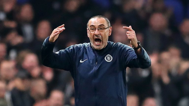Maurizio Sarri reacts during the UEFA Europa League semi-final, second leg between Chelsea and Eintracht Frankfurt at Stamford Bridge on May 09, 2019