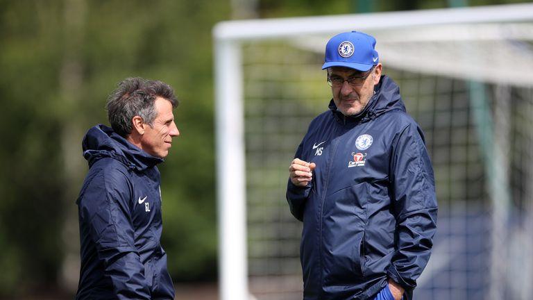 Maurizio Sarri during a Chelsea training session at Cobham