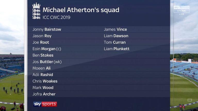 Michael Atherton's England World Cup squad