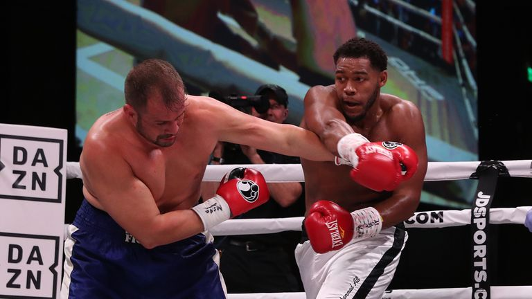 May 25, 2019; Oxon Hill, MD;  Michael Hunter and Fabio Maldonado during their bout at the MGM National Harbor in Oxon Hill, MD.  Mandatory Credit: Ed Mulholland/Matchroom Boxing USA