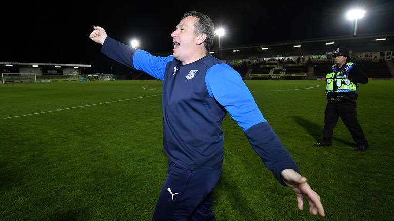 Micky Mellon, Manager of Tranmere Rovers celebrates following his side's victory during the Sky Bet League Two Play-off Semi Final Second Leg match between Forest Green and Tranmere Rovers at The New Lawn on May 13, 2019 in Nailsworth, United Kingdom.