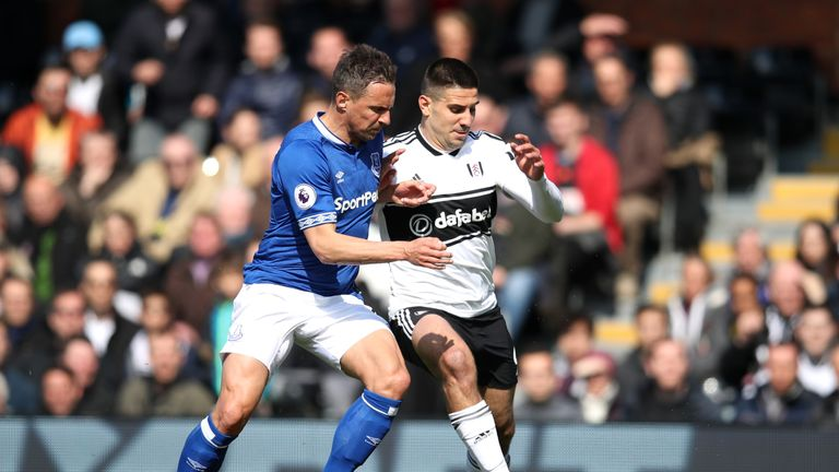 Aleksandar Mitrovic in action for Fulham against Everton in April