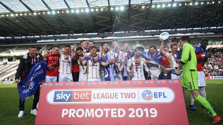 MK Dons celebrate promotion from League Two