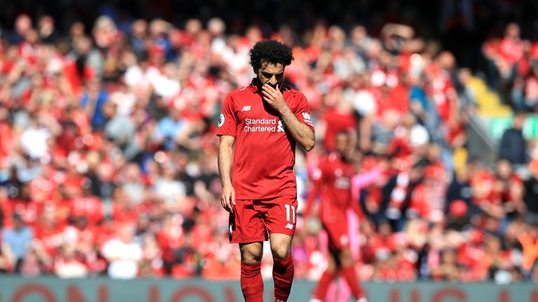 Mohamed Salah appears dejected during the Premier League match vs Wolves at Anfield