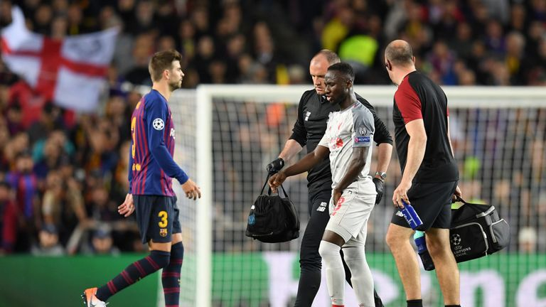 Naby Keita was substituted midway through the first half at the Nou Camp because of injury