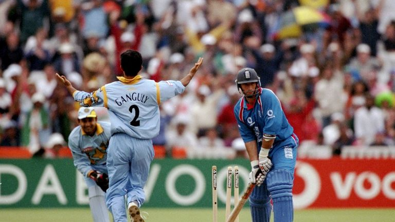 Nasser Hussain is bowled by Sourav Ganguly as England were eliminated