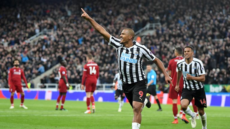 Rondon wheels away after scoring Newcastle's second equaliser against Liverpool