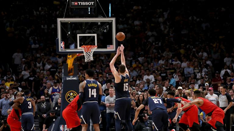Nikola Jokic of the Denver Nuggets puts up a free throw against the Portland Trail Blazers in the fourth quarter during Game Seven of the Western Conference Semi-Finals of the 2019 NBA Playoffs