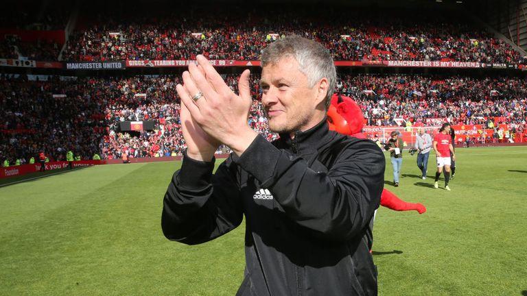 Solskjaer applauds the Old Trafford crowd after Sunday's Man Utd legends game
