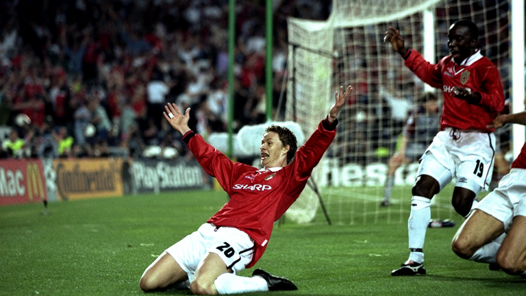 Solskjaer celebrates after his Champions League final winning goal in 1999