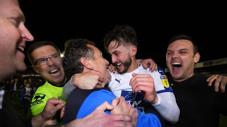 Tranmere celebrate reaching the play-off final