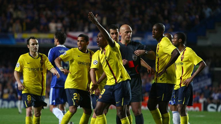 Ovrebo also angered Barcelona players when he dismissed Eric Abidal