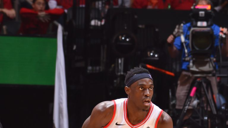 Pascal Siakam #43 of the Toronto Raptors handles the ball against the Milwaukee Bucks during Game Three of the Eastern Conference Finals of the 2019 NBA Playoffs on May 19, 2019 at the Scotiabank Arena in Toronto, Ontario, Canada.