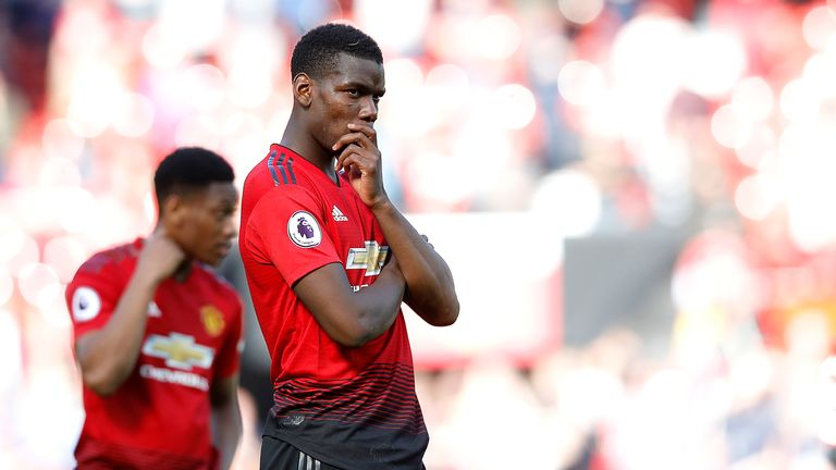 "Manchester United's Paul Pogba shows his dejection after his teams 2-0 defeat to Cardiff City, during the Premier League match at Old Trafford, Manchester. PRESS ASSOCIATION Photo. Picture date: Sunday May 12, 2019. See PA story SOCCER Man Utd. Photo credit should read: Martin Rickett/PA Wire. RESTRICTIONS: EDITORIAL USE ONLY No use with unauthorised audio, video, data, fixture lists, club/league logos or ""live"" services. Online in-match use limited to 120 images, no video emulation. No use in betting, games or single club/league/player publications."