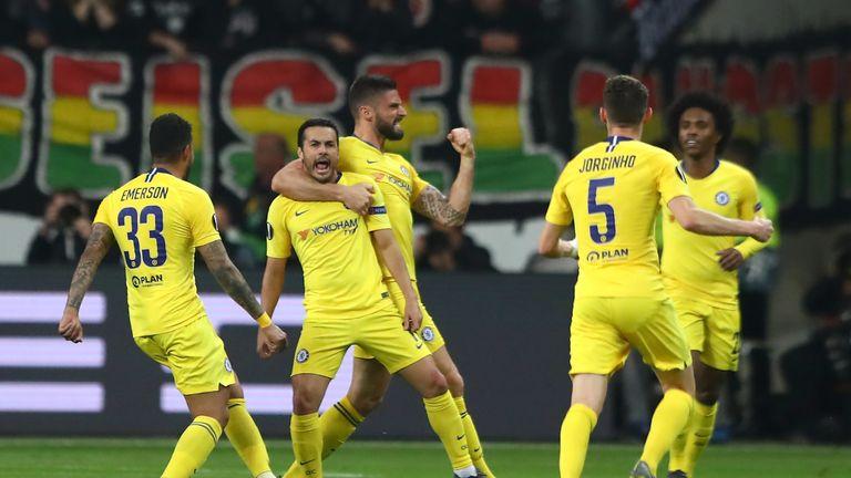 Pedro and Olivier Giroud, Chelsea, Europa League semi-final at Eintracht Frankfurt