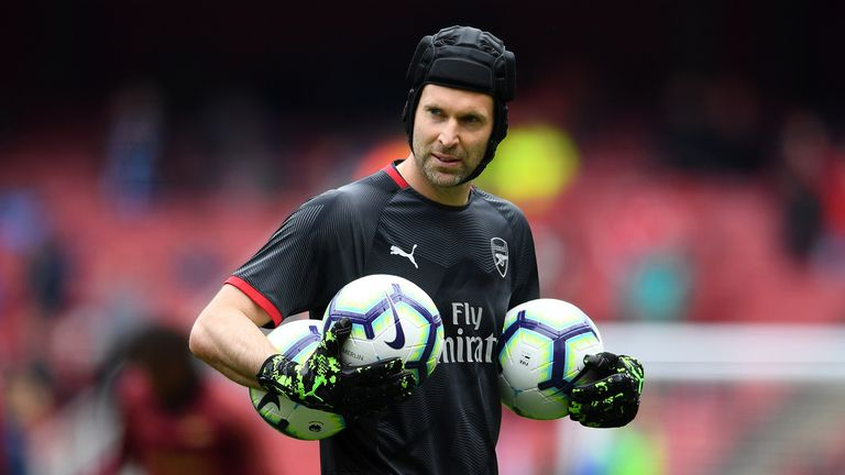 Petr Cech of Arsenal warms up ahead of the Premier League match between Arsenal FC and Brighton & Hove Albion at Emirates Stadium on May 05, 2019 in London, United Kingdom.