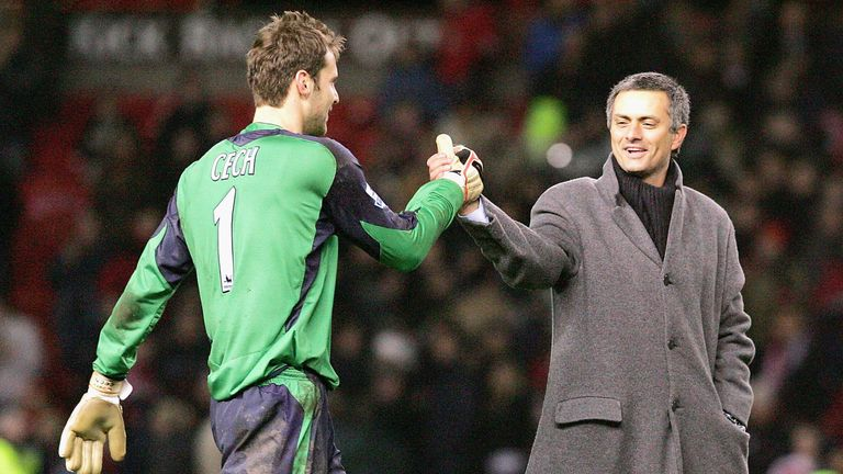 Three of Petr Cech's Premier League titles were under Jose Mourinho