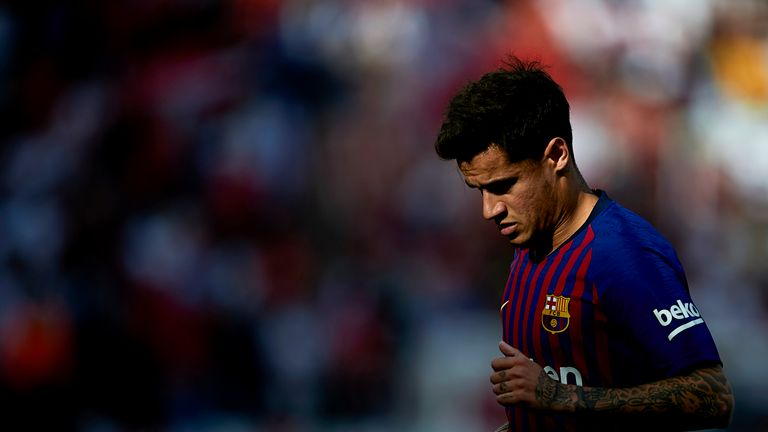 Philippe Coutinho during the La Liga match between Sevilla and Barcelona at on February 23, 2019