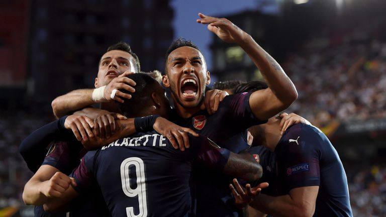 Pierre-Emerick Aubameyang celebrates his first goal