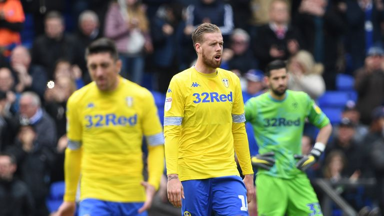 Pontus Jansson looks dejected after conceding the opening goal at Portman Road