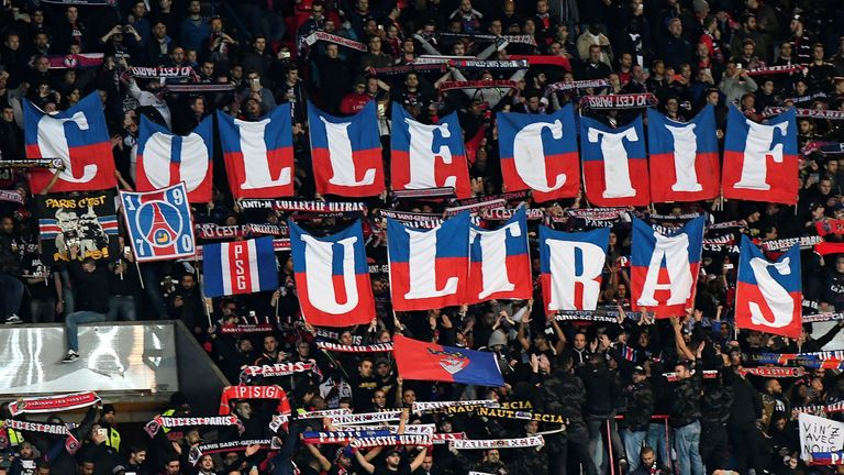 PSG's ultras during a Champions League game against FC Basel